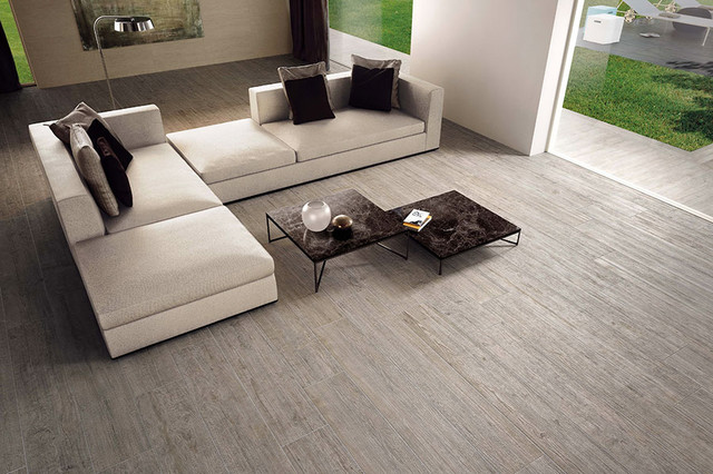 Wood Porcelain Tiles Modern Living Room