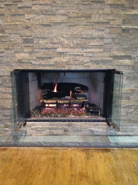 Woodburning Fireplace With Gas Log Set American
