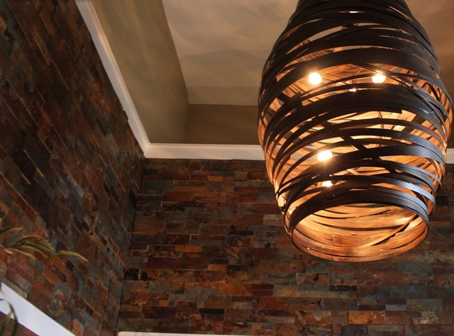Wooden Pendant Light With Split Stone Modern Living Room By Realstone S