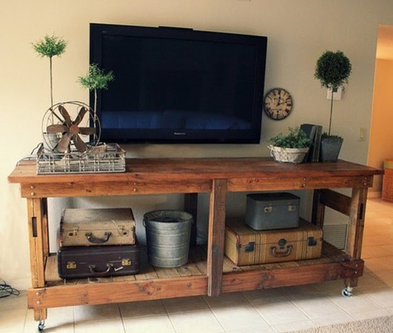 wooden tv stand pallet inspired eclectic living room