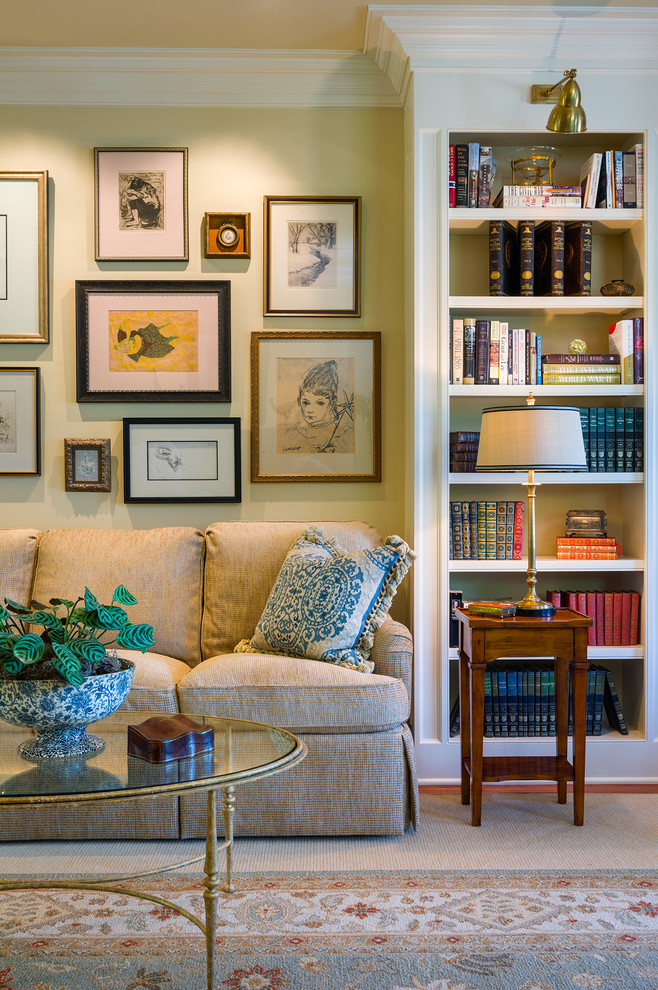 Inspiration for a timeless carpeted living room remodel in New York with yellow walls