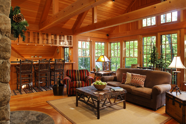 Woodland Point Carriage House Living Room traditional living room