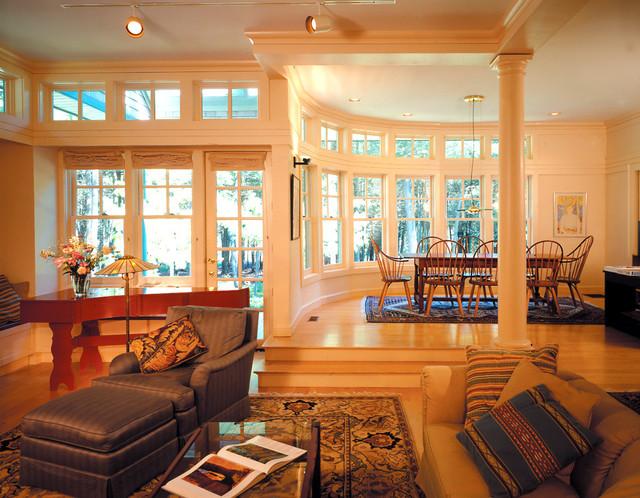 Woodland Shingle Style Home traditional-living-room