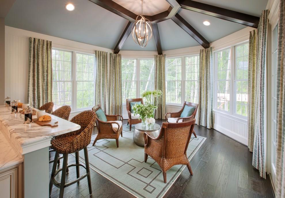 Nautical formal open plan living room in Philadelphia with white walls, dark hardwood flooring and no tv.