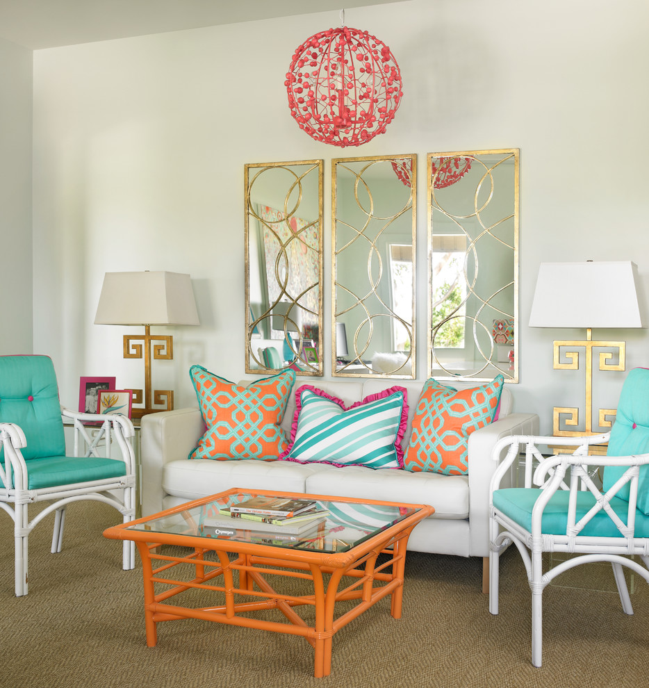 Example of a trendy carpeted living room design in Atlanta with white walls