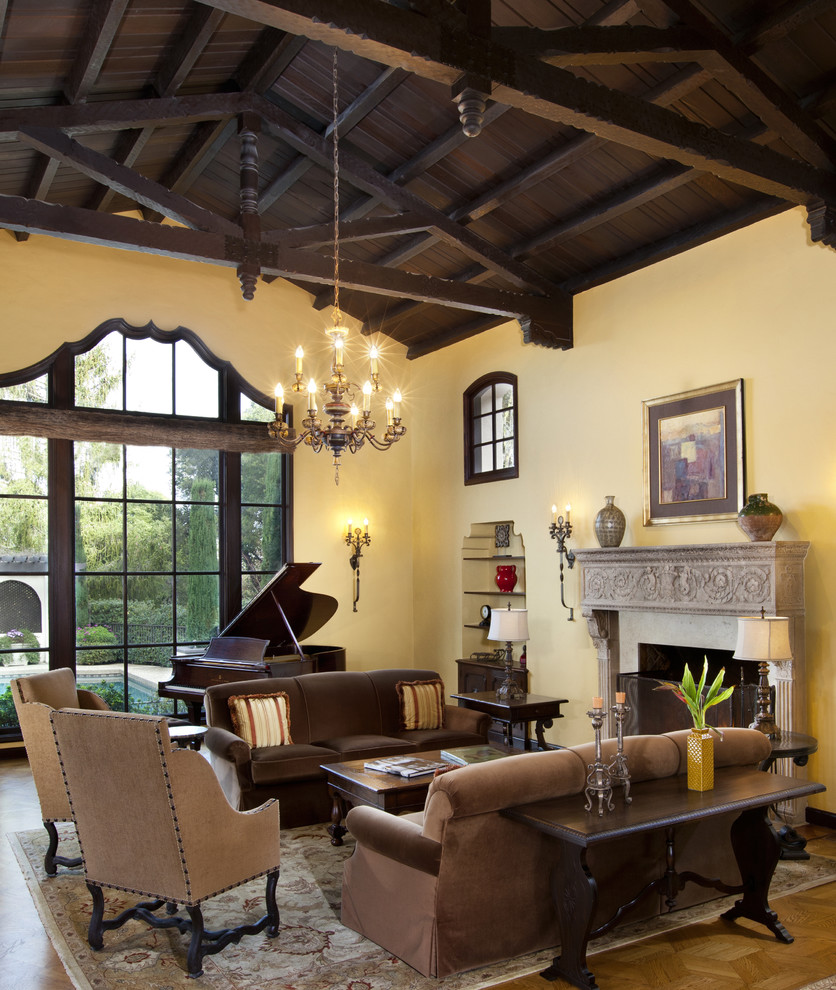 Example of a classic living room design in San Francisco with a music area and yellow walls