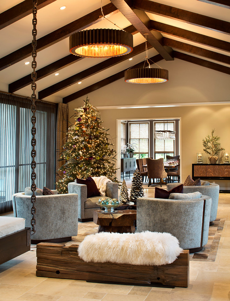 Inspiration for a large rustic enclosed limestone floor living room remodel in San Francisco with beige walls, no fireplace and no tv