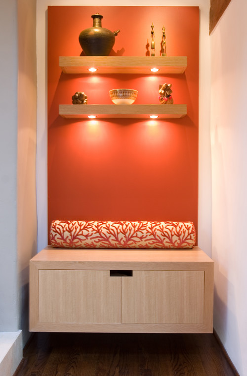 Did You Find Floating Shelves With Puck Lights Already Installed?