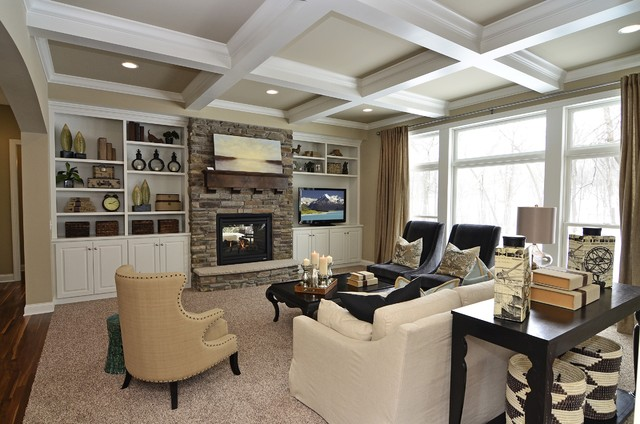 Woolman woods model spring 2012 traditional living for Model home living room