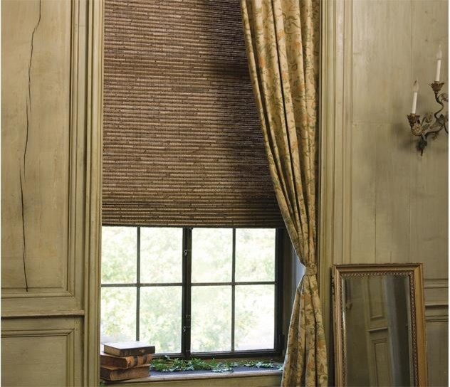 Woven wood shade with panel - Woven wood wall panels ...