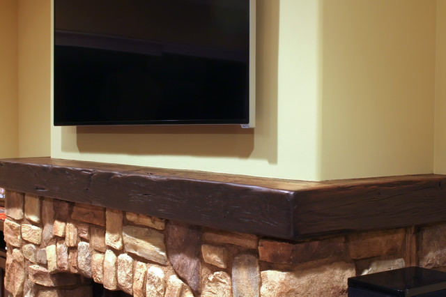 Wrap Around Fireplace Mantel Rustic Living Room