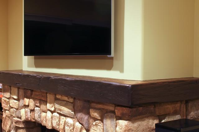 Wrap Around Fireplace Mantel Rustic Living Room