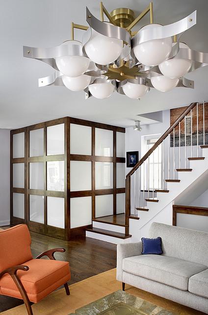 Alan design studio · interior designers decorators wrigleyville residence midcentury living room