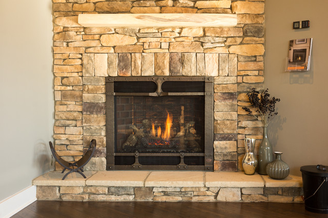 Wrought iron faced gas fireplace for Craftsman gas fireplace