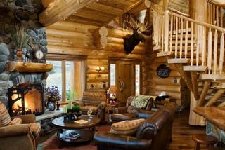 Small Log Cabin Living Room Ideas & Photos | Houzz