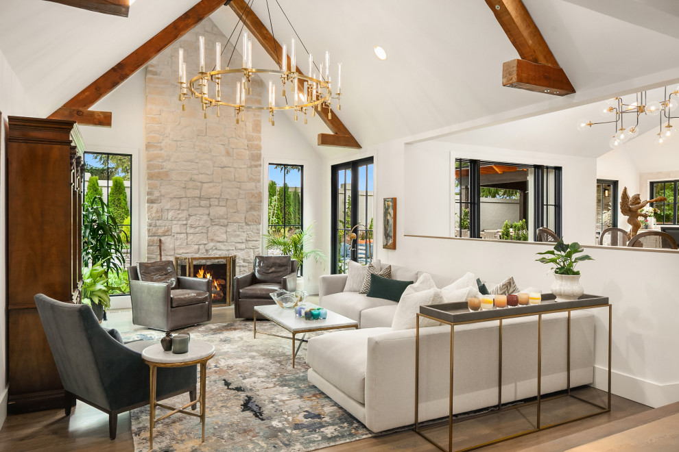 Living room - french country living room idea in Seattle