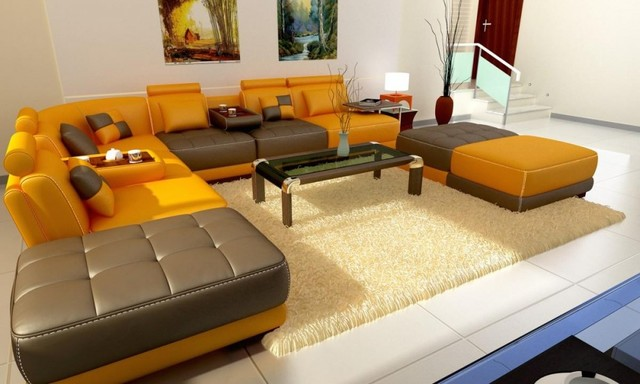 Yellow And Brown Bonded Leather Modern Sectional Sofa