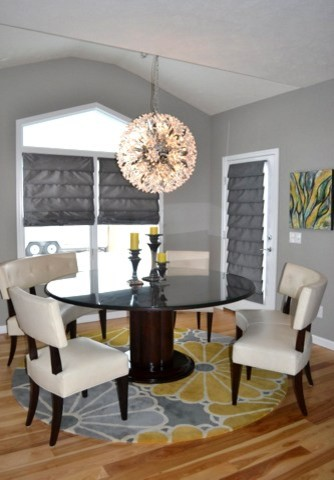 Yellow and gray great room living room eat in kitchen for Grey and yellow dining room ideas
