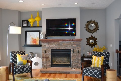 Yellow And Grey Great Room Living Room Eat In Kitchen