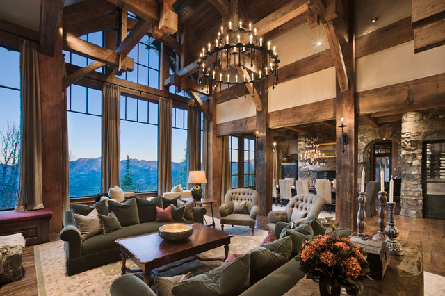 Yellowstone Club Summit Residence Rustic Living Room
