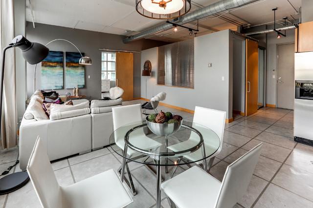 Yonge Eglinton Loft Living Industrial Living Room Toronto By Hope Designs