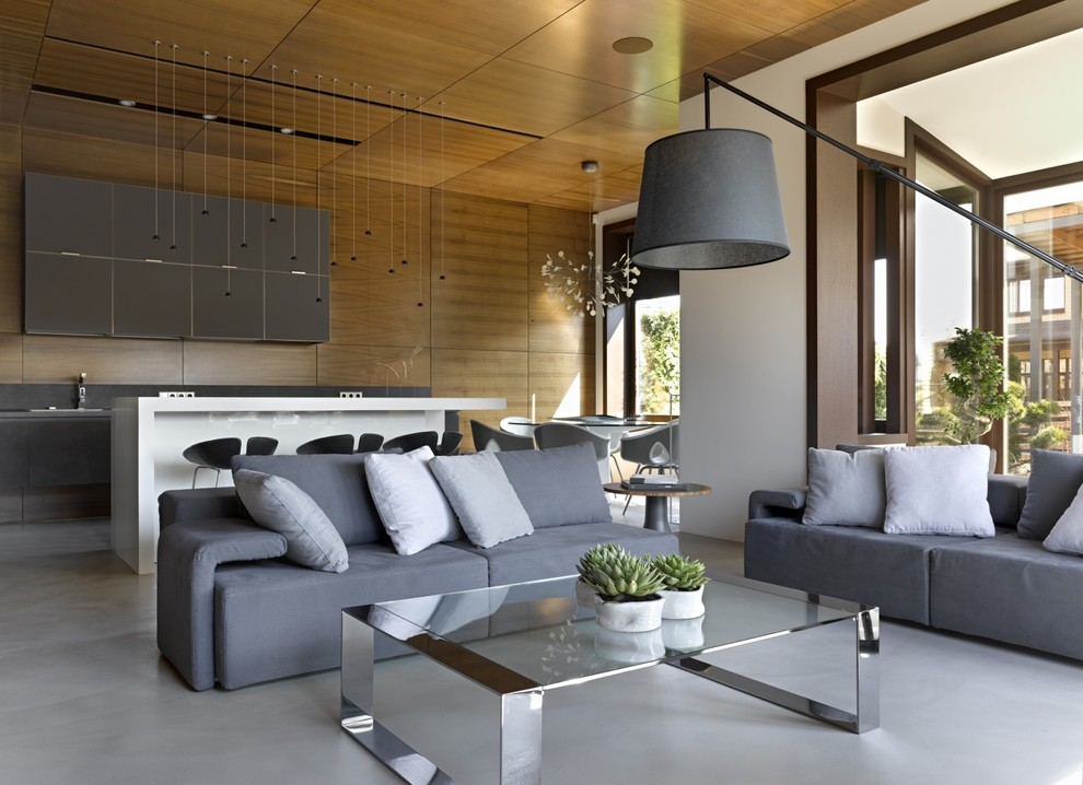 Inspiration for a contemporary formal and open concept living room remodel in Moscow