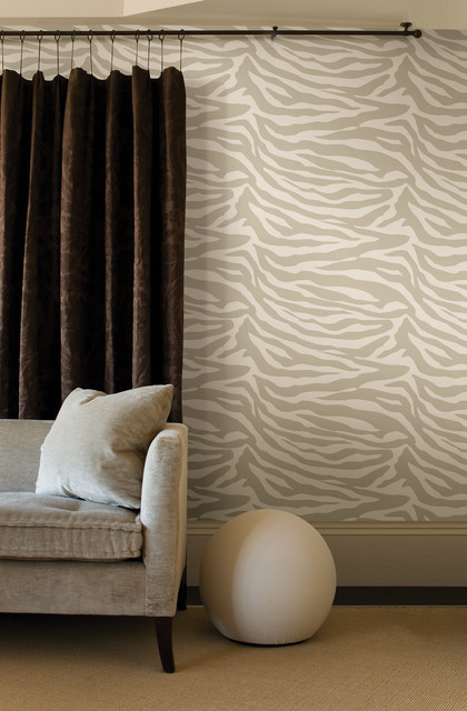 Zebra Print Wallpaper Contemporary Living Room Design Ideas