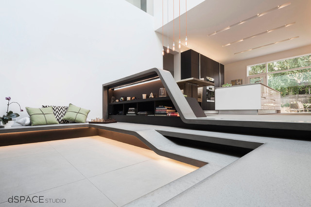 Zen garden atrium contemporary living room chicago for Atrium design and decoration