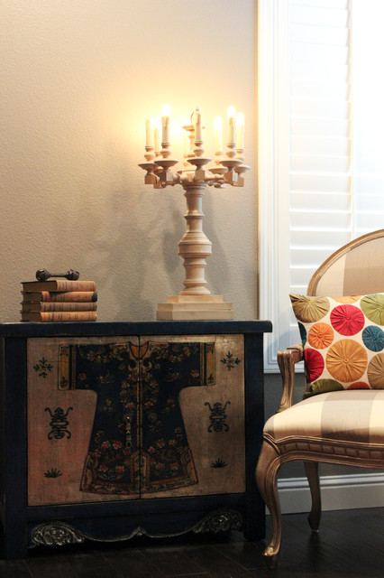 Zhou blue and silver low cabinet eclectic living room - Blue and silver living room ...