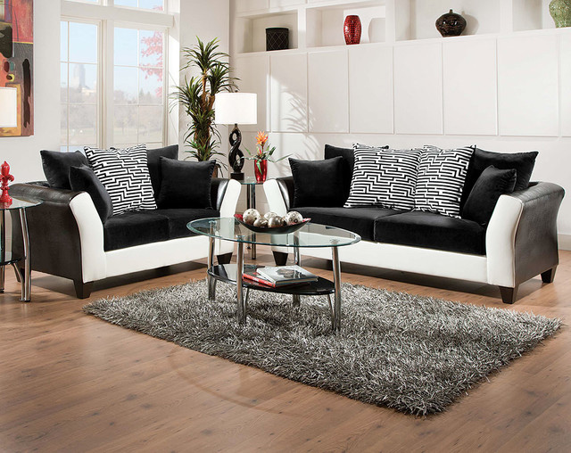 ZigZag Sofa And Loveseat Set Modern Living Room