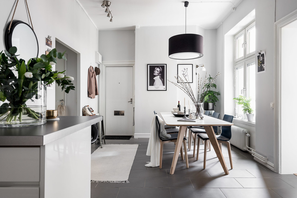Inspiration for a small scandinavian black floor and concrete floor kitchen/dining room combo remodel in Gothenburg with white walls and no fireplace
