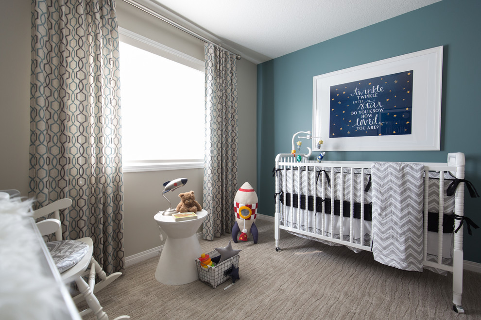 Example of a mid-sized transitional boy carpeted and gray floor nursery design in Calgary with gray walls