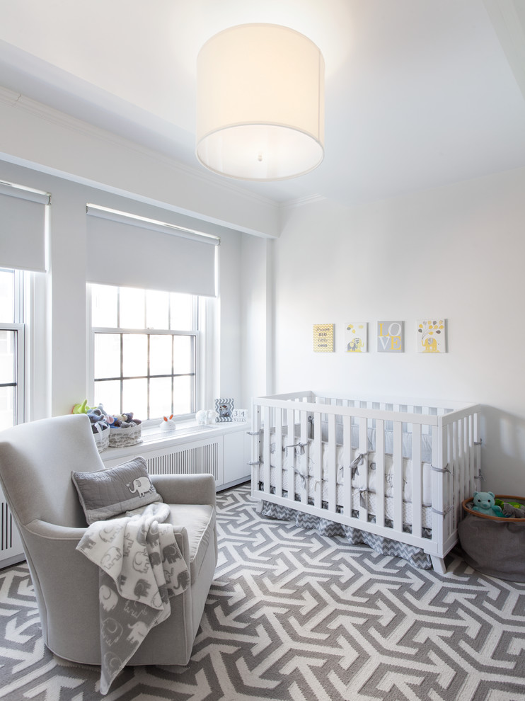 Nursery - transitional gender-neutral multicolored floor nursery idea in New York with white walls