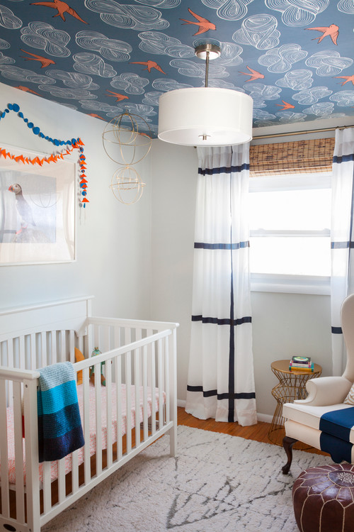 A Daydream Ceiling Blue & Orange Nursery