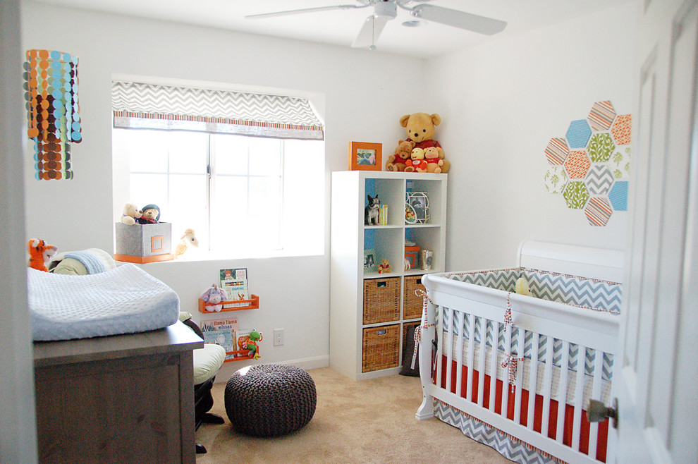 Nursery - transitional gender-neutral carpeted nursery idea in San Francisco with white walls
