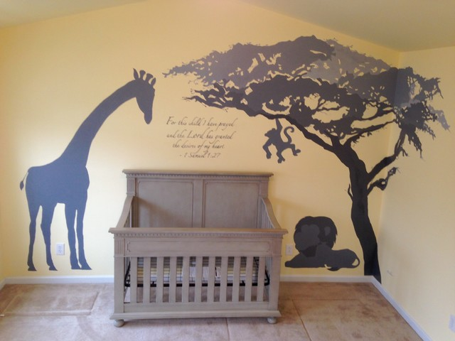 African Savannah Nursery Mural In Tones Of Gray Contemporary