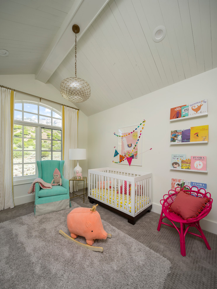 Example of a transitional girl carpeted and gray floor nursery design in Salt Lake City with white walls