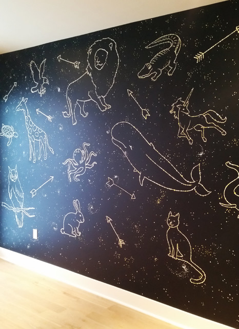 Animal Constellation Nursery Mural Contemporary