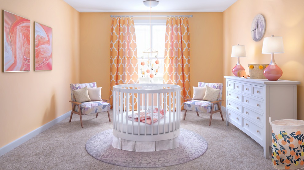 Inspiration for a small transitional girl carpeted and beige floor nursery remodel in Los Angeles with orange walls