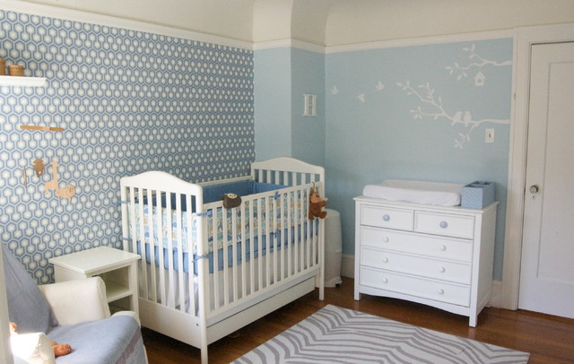 Blue Nursery By Four Walls And A Roof Contemporary