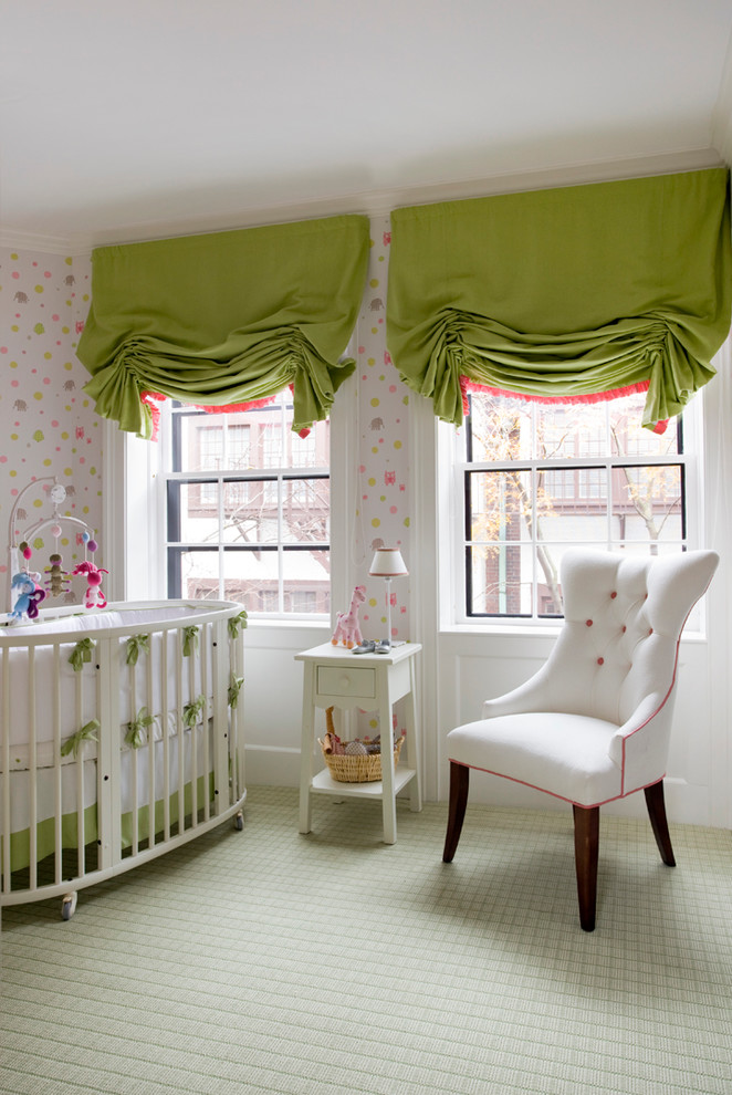 Elegant girl carpeted nursery photo in Boston with multicolored walls