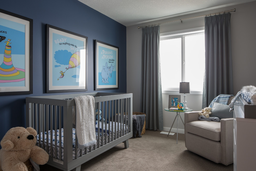 Inspiration for a transitional carpeted and gray floor nursery remodel in Calgary with blue walls