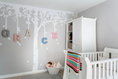 decorate a nursery with vinyl decals trees