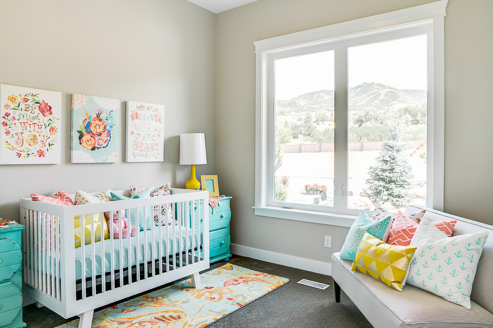 Transitional gender-neutral carpeted and gray floor nursery photo in Salt Lake City with beige walls