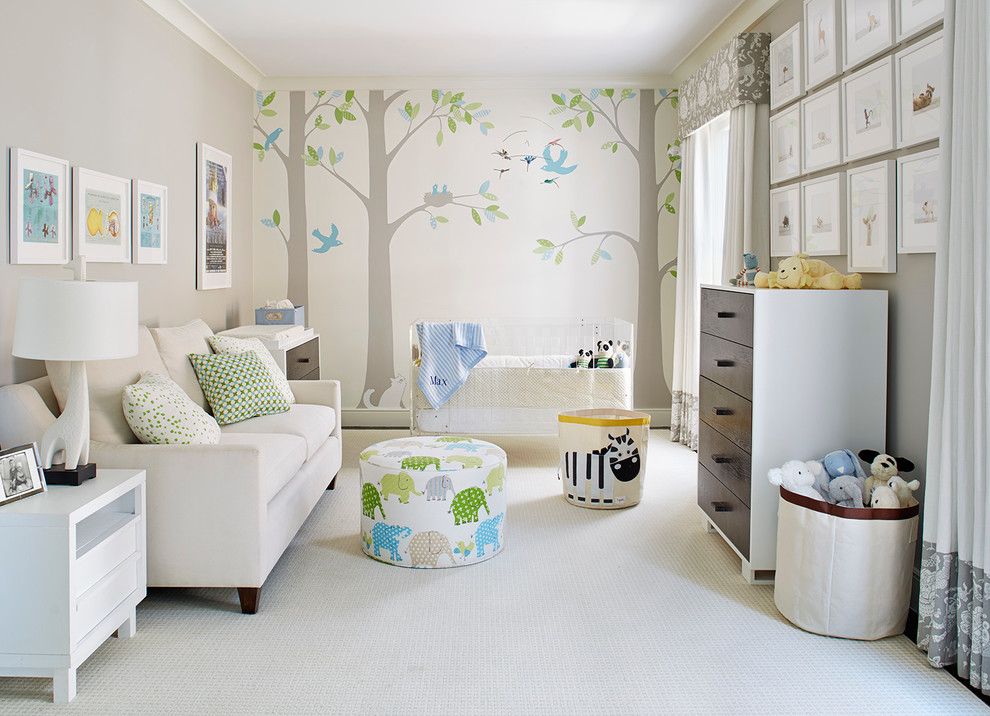 Example of a mid-sized transitional gender-neutral carpeted and beige floor nursery design in San Francisco with multicolored walls