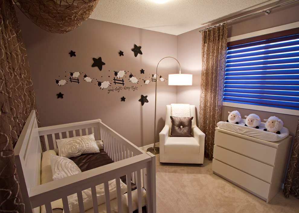 Small elegant gender-neutral carpeted nursery photo in Calgary with brown walls