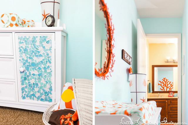 Aqua and Orange Boy's Nursery contemporary-kids
