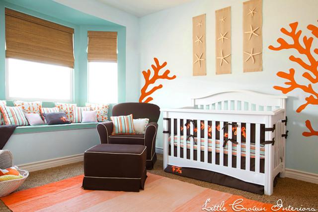 Aqua and Orange Beach Nursery contemporary-kids