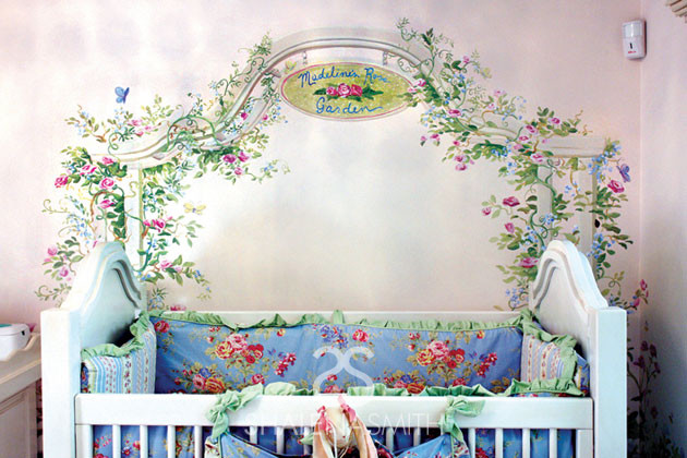 Custom Mural over Rose Crib traditional-nursery