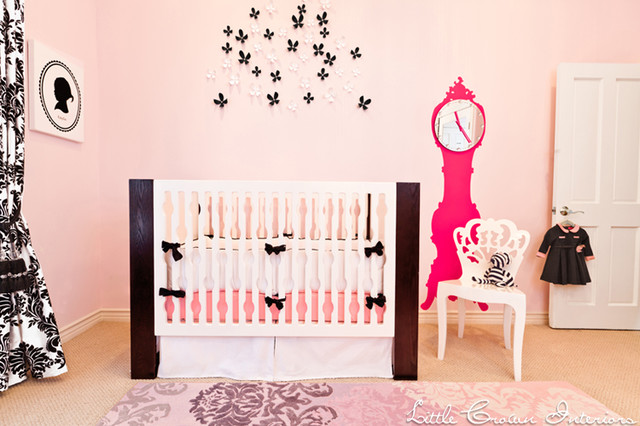 Pink and Black Parisian Nursery eclectic-kids